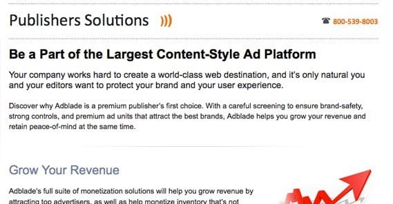 Publishers on Adblade