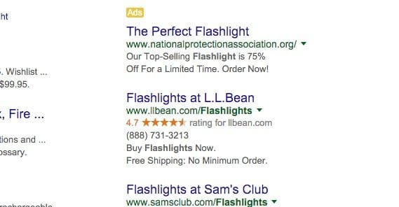 Adwords Results Example