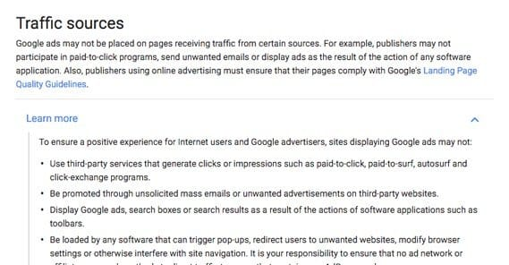 Traffic Sources Adsense Terms