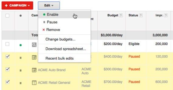 Enable Adwords Campaigns