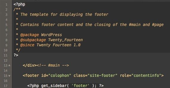Editing Footer in Code Editor