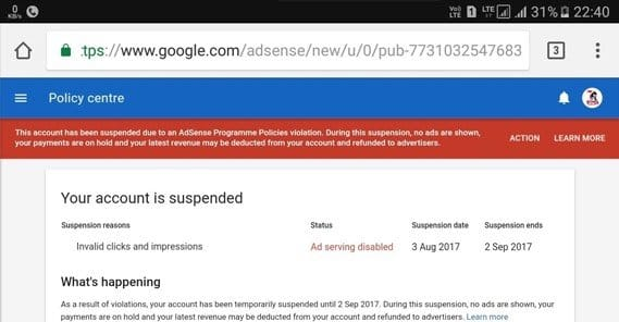 AdSense Suspended