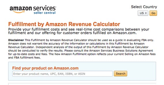 Fufillment by Amazon Calculator