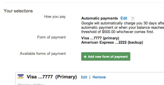 Automatic Payments Selected