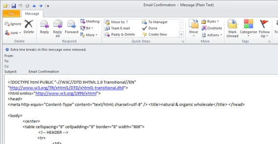 HTML in Email