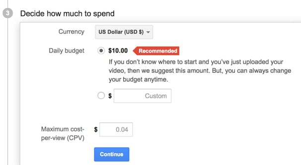 Setting a YouTube Ads Budget