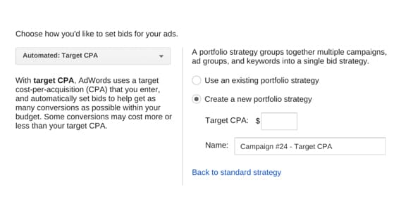 Target CPA Option