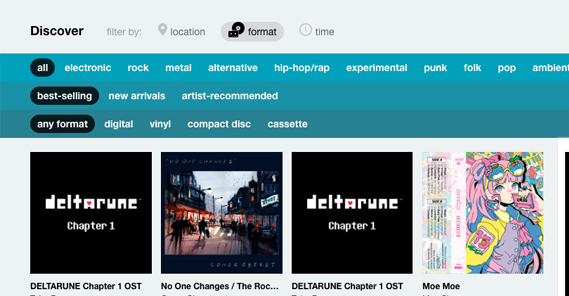 Discover Section on Bandcamp