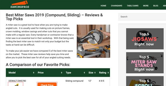 Affiliate Site Example Miter Saws