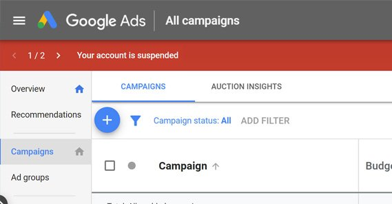 Google Ads Account Suspended Example