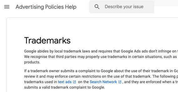 Google Trademark Issues