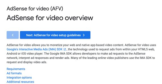 AdSense for Video Overview
