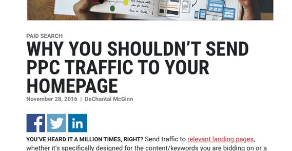 Article on Traffic to Homepage
