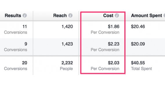 Cost Per Conversion Column