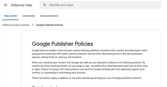 Google Publisher Policies