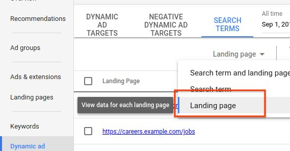 View By Landing Page in Google Ads